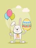 Szczęśliwy królik trzyma Easter jajko i balony, Wektorowa ilustracja Zdjęcia Stock