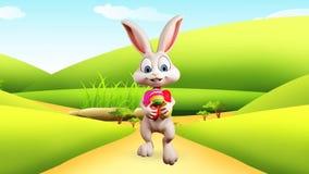 Szczęśliwy królik z kolorowymi jajkami royalty ilustracja