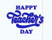 Szczęśliwy krajowy nauczyciela dnia literowanie Kreatywnie abstrakcjonistyczny plakat fotografia stock