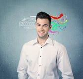 Szczęśliwy kreatywnie biznesowy facet z ilustracją Obrazy Stock