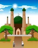 Szczęśliwy kreskówka muzułmanin żartuje falowanie rękę przed meczetem royalty ilustracja