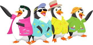 Szczęśliwy kreskówka pingwin na wakacje letni Zdjęcia Stock