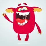 Szczęśliwy kreskówka potwór Laughting potwora twarzy emocja Wektorowa Halloween ilustracja ilustracja wektor