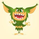 Szczęśliwy kreskówki gremlin potwór Halloweenowa wektorowa dziwożona lub błyszczka z zielonym futerkiem i dużymi ucho Obrazy Royalty Free