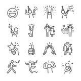 Szczęśliwy kreskowy ikona set Zawrzeć ikony bawi się, świętuje, dobry nastrój, sukces i bardziej gdy zabawa, cieszy się, royalty ilustracja