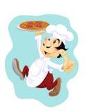 Szczęśliwy kucharz z pizzą Obrazy Royalty Free