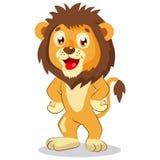 Szczęśliwy Leo Kreskówka lwa wektor charakter śliczny Żartuje śmieszną ilustrację ilustracja wektor
