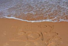 Szczęśliwy 2017 literowanie na plaży Zdjęcie Royalty Free