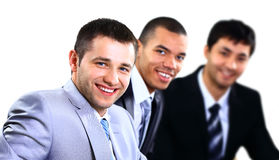 Szczęśliwy mądrze biznesowy mężczyzna z drużynowymi szturmanami obraz royalty free