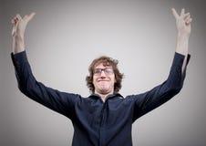 Szczęśliwy mężczyzna exulting o sukcesie Fotografia Stock
