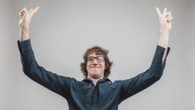 Szczęśliwy mężczyzna exulting o sukcesie Obraz Royalty Free