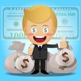 Szczęśliwy mężczyzna i duże pieniądze torby Zdjęcia Stock