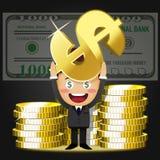 Szczęśliwy mężczyzna i duże złote monety Obraz Royalty Free