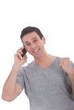Szczęśliwy mężczyzna ma rozmowę na telefonie Obrazy Stock