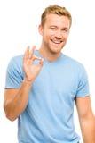 Szczęśliwy mężczyzna ok znak - portret na białym tle Obrazy Stock
