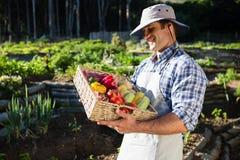 Szczęśliwy mężczyzna trzyma kosz świezi warzywa Obrazy Royalty Free