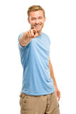 Szczęśliwy mężczyzna wskazuje - portret na białym tle Obrazy Stock