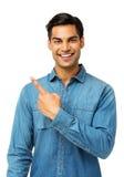Szczęśliwy mężczyzna Wskazywać Z ukosa Zdjęcia Stock