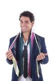 Szczęśliwy mężczyzna z udziałem krawaty wokoło jego szyi Obraz Royalty Free