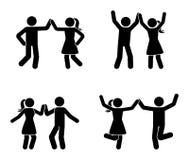 Szczęśliwy mężczyzny i kobiety kij oblicza tana wpólnie Czarny i biały para cieszy się partyjną ikonę royalty ilustracja