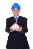 Szczęśliwy Męski architekta mienia modela dom Zdjęcie Royalty Free