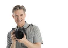 Szczęśliwy Męski fotograf Z kamery I parasola światłami obrazy stock