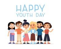 Szczęśliwy młodość dzień Sześć międzynarodowych młodych dziewczyn i chłopiec przyjaciół ściskać royalty ilustracja
