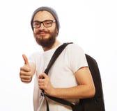 Szczęśliwy młody brodaty mężczyzna Obraz Stock