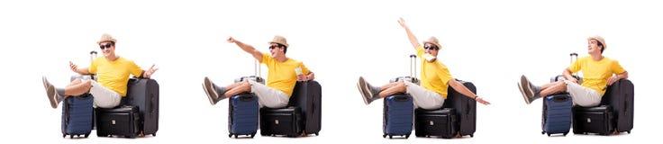 Szczęśliwy młody człowiek iść na wakacje odizolowywającym na bielu zdjęcia royalty free