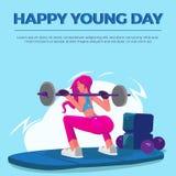 Szczęśliwy Młody dzień kobiet gym royalty ilustracja