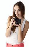 Szczęśliwy młody fotograf obrazy royalty free