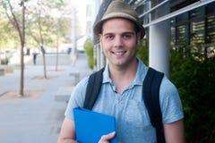 Szczęśliwy młody męski uczeń Obraz Stock
