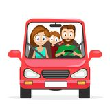 Szczęśliwy młody rodzinny mąż, żona i córka, jedziemy w czerwonym samochodzie na białym tle Zdjęcie Royalty Free