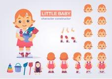 Szczęśliwy małe dziecko dziewczyny charakter z różnorodnymi widokami, twarzy emocja ilustracja wektor