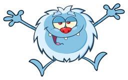 Szczęśliwy Mały yeti kreskówki maskotki charakter Skacze Up Z Otwartymi rękami Obraz Stock