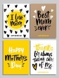Szczęśliwy Macierzysty ` s dnia karty set w modnych kolorach z literowaniem Ja l ilustracja wektor