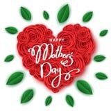 Szczęśliwy macierzysty ` s dnia sztandaru szablon z sercem czerwone róże Zdjęcia Royalty Free
