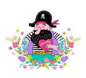 Szczęśliwy Macierzysty ` s dnia tło, sztandar i ilustracja z, pirata mienia kwiatami i sercem Obrazy Royalty Free