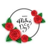 Szczęśliwy macierzysty ` s dnia tło z czerwonymi różami, pociągany ręcznie letteri Fotografia Royalty Free