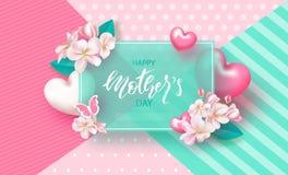 Szczęśliwy Macierzysty ` s dzień - sztandar Piękny tło z kwiatami i sercami również zwrócić corel ilustracji wektora Obrazy Royalty Free
