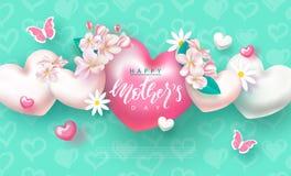 Szczęśliwy Macierzysty ` s dzień - sztandar Piękny tło z kwiatami, motylami i sercami, również zwrócić corel ilustracji wektora Zdjęcia Stock