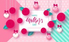 Szczęśliwy Macierzysty ` s dzień - sztandar Piękny tło z sercami, różami i łękami, również zwrócić corel ilustracji wektora Zdjęcia Royalty Free