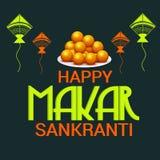 Szczęśliwy Makar Sankranti świętowanie z kolorowymi kaniami royalty ilustracja