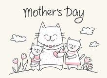 Szczęśliwy matka dnia crad z kot mamą i małymi kiciuniami Płaska wektor matki ` s dnia zwierzęcia ilustracja zdjęcie royalty free