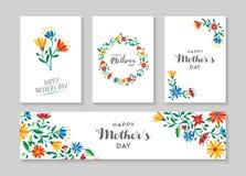 Szczęśliwy matka dnia etykietki i karty kwiecisty set Fotografia Royalty Free