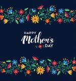 Szczęśliwy matka dnia retro kwiecisty deseniowy tło Zdjęcia Royalty Free