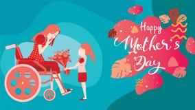 Szczęśliwy matka dzień! Dziecko córka gratuluje niepełnosprawnego mum w wózku inwalidzkim i daje ona kwiatów tulipany Kolorowy we ilustracji