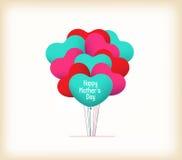 Szczęśliwy matka dzień z kierowymi balonami Fotografia Royalty Free