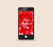 Szczęśliwy matka dzień z serce czerwonego koloru telefonem Zdjęcia Stock