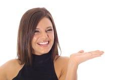 szczęśliwy mienia modela produkt twój Obrazy Royalty Free